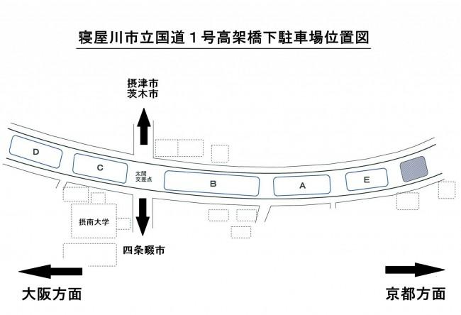 寝屋川市立国道1号高架橋下駐車場位置図